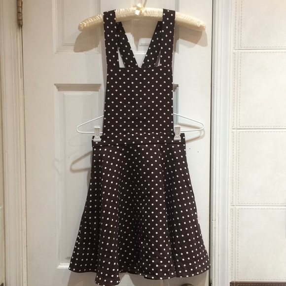 Forever 21 Dresses & Skirts - F21 Wine Brown Polka Dot Overall Pinafore Dress